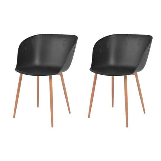 Jedálenské stoličky 2 ks, čierne, plast
