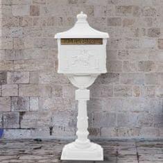 Poštovní schránka s podstavcem hliník vintage rezuvzdorná bílá