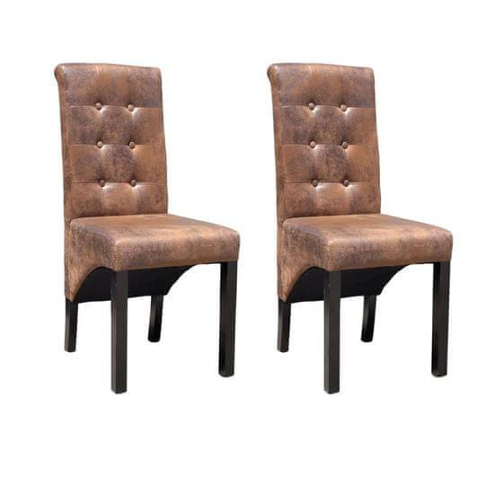 Jedálenské stoličky 2 ks, hnedé, umelá koža