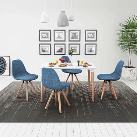 Zestaw mebli do jadalni 5 elementów biały stół i pokryte materiałem niebieskie krzesła