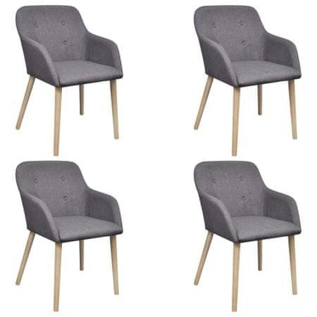 shumee Jedilni stoli 4 kosi svetlo sivo blago in trdna hrastovina
