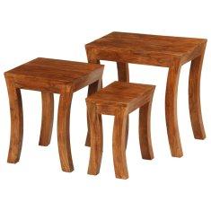 3-dielna sada zasúvacích stolíkov akáciové drevo 50x35x50 cm hnedá