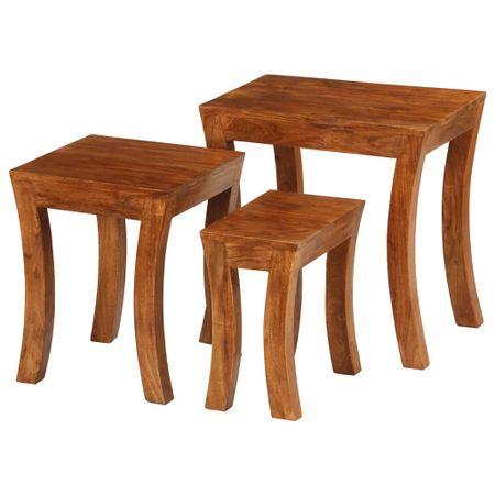 shumee 3 db barna egymásba rakható tömör akácfa asztal 50x35x50 cm