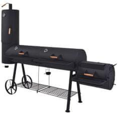 Grill węglowy z wędzarnią i dolną półką, czarny, solidny, XXXL