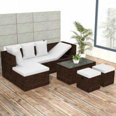shumee 4-dielna záhradná sedacia súprava+podložky, polyratan, hnedá