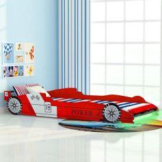 Detská posteľ s LED, pretekárske auto, 90x200 cm, červená