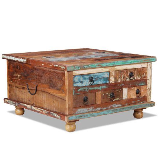 Konferenčný stolík z recyklovaného dreva, 70x70x38 cm