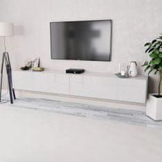 Stolek pod TV 2 ks, dřevotříska, 120x40x34 cm, vysoký lesk bílý