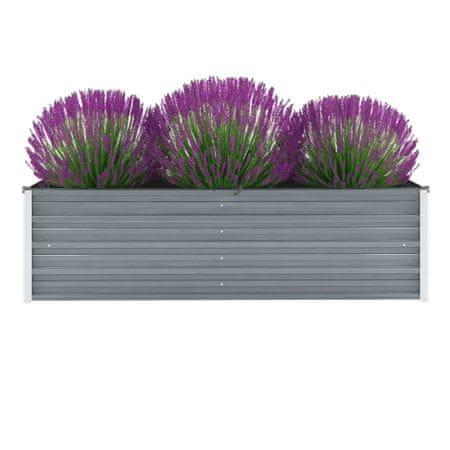 Donica ogrodowa z galwanizowanej stali, 160x40x45 cm, szara