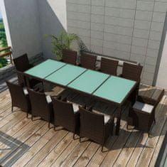 Petromila 11dílný zahradní jídelní set s poduškami polyratan hnědý