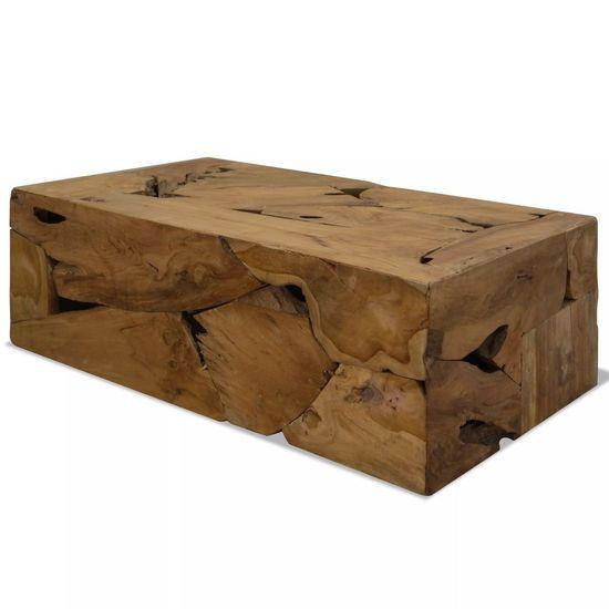 Konferenčný stolík, 90x50x35 cm, pravé teakové drevo, hnedý