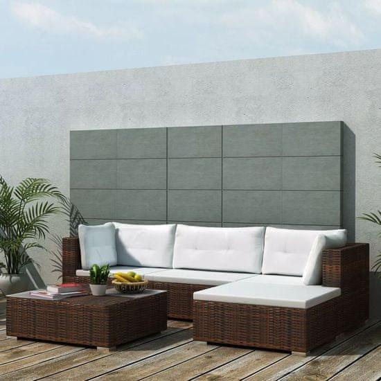 5-dielna záhradná sedacia súprava s vankúšmi hnedá polyratanová