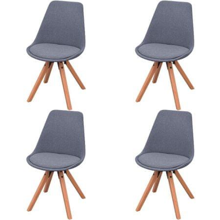 shumee Jedilni stoli 4 kosi svetlo sivo blago