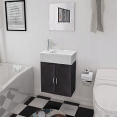 shumee 3dílný set koupelnového nábytku a umyvadla černý