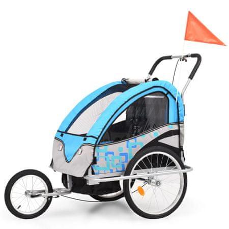 shumee 2 az 1-ben kék/szürke kerékpár utánfutó és babakocsi
