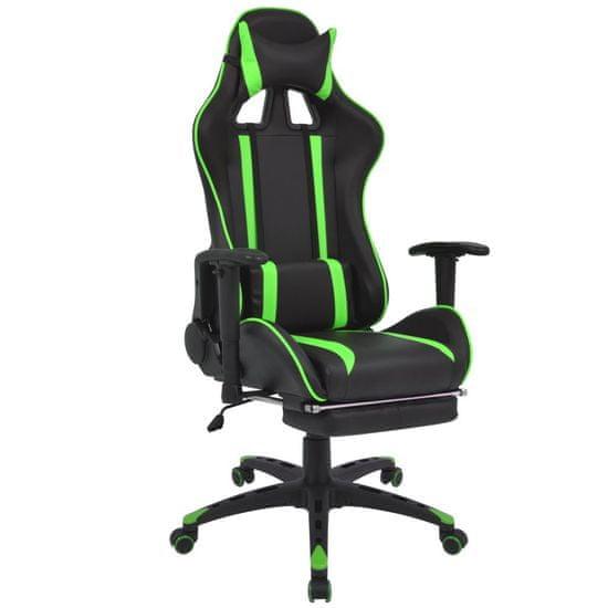 Vidaxl Polohovatelné kancelářské / herní křeslo s podnožkou, zelená