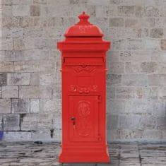 Sloupová poštovní schránka ve vintage stylu rezuvzdorná červená