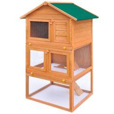 Vonkajšia králikáreň/klietka pre zvieratá, 3 poschodia, drevená