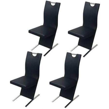 slomart Jedilni stoli 4 kosi črno umetno usnje