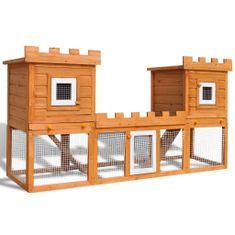 Veľká vonkajšia králikáreň/klietka pre zvieratá, dva domčeky