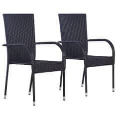 Stohovateľné vonkajšie stoličky 2 ks, polyratan, čierne