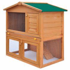 Vonkajšia králikáreň/klietka pre zvieratá, 3 dvierka, drevená