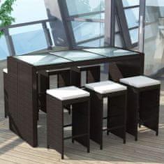 shumee 7dílný zahradní barový set s poduškami polyratan hnědý