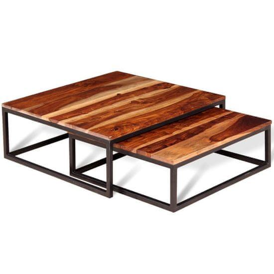 2-dielna sada stohovacích konferenčných stolíkov, sheeshamové drevo
