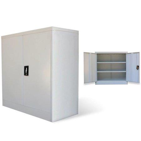 shumee Szafa biurowa z 2 drzwiami, szara, 90 cm, stalowa