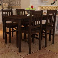 shumee Dřevěný stůl se 4 židlemi, hnědá barva