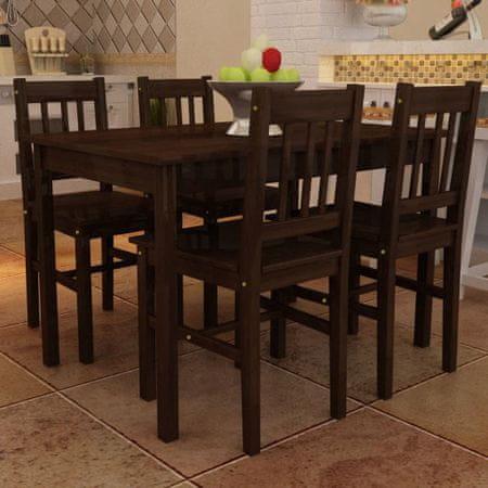 Drewniany zestaw - 4 krzesła i stolik, brązowy