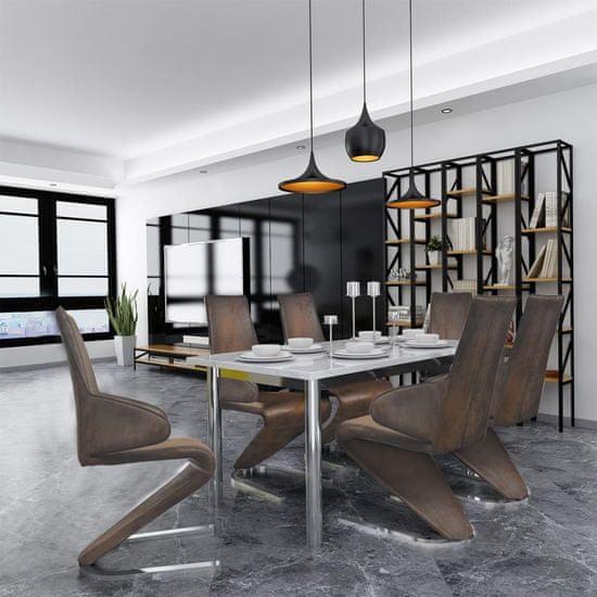 Jedálenské stoličky 6 ks, hnedé, látka