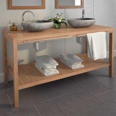 shumee Skrinka do kúpeľne z tíkového dreva, umývadlá z riečneho kameňa