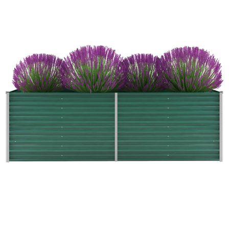 Donica ogrodowa z galwanizowanej stali, 240x80x77 cm, zielona