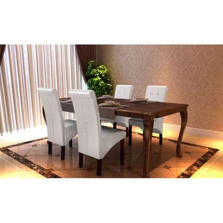 slomart Jedilni stoli 4 kosi belo umetno usnje