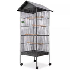 shumee fekete acél madárkalitka tetővel 66 x 66 x 155 cm