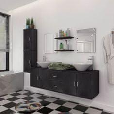 shumee 11kusový set koupelnového nábytku s umyvadlem a baterií, černý