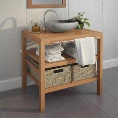 shumee Umývadlová skrinka s 2 košíkmi, teakové drevo, 74x45x75 cm