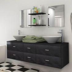 shumee 7dílný koupelnový nábytek s umyvadlem černý