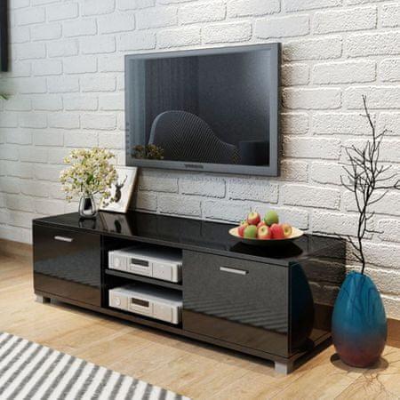 shumee magasfényű fekete TV-szekrény 140 x 40,3 x 34,7 cm