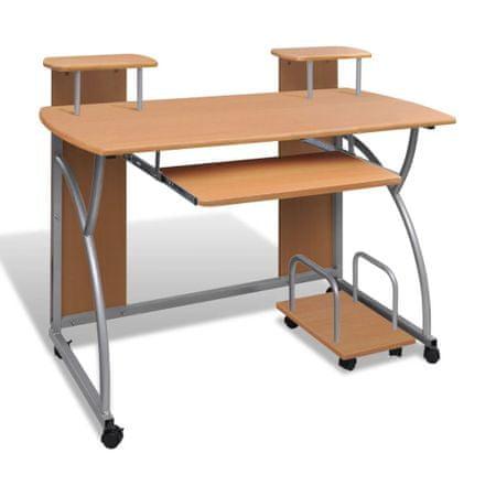 shumee Mobilna računalniška miza z izvlečno polico Rjavi zaključek