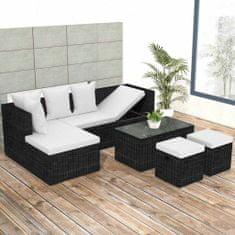 shumee 4-dielna záhradná sedacia súprava+podložky, polyratan, čierna