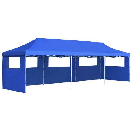 Składany namiot z 5 ścianami bocznymi, 3 x 9 m, niebieski