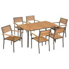 Vidaxl 7dílný zahradní jídelní set masivní akáciové dřevo a ocel