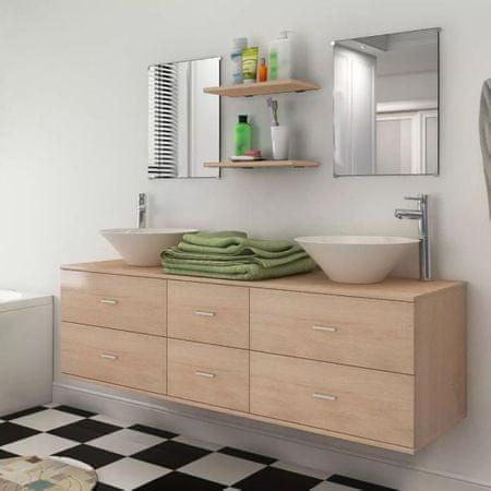 shumee 9-częściowy zestaw mebli łazienkowych ze zlewami i kranami