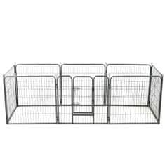 shumee Oceľová ohrádka pre psov s 8 panelmi 80x80 cm čierna