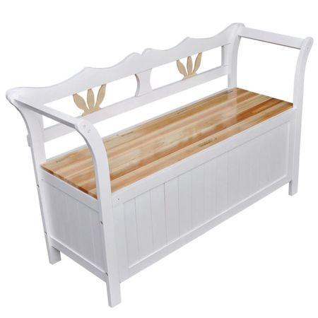 shumee Klop s prostorom za shranjevanje 126x42x75 cm lesena bela