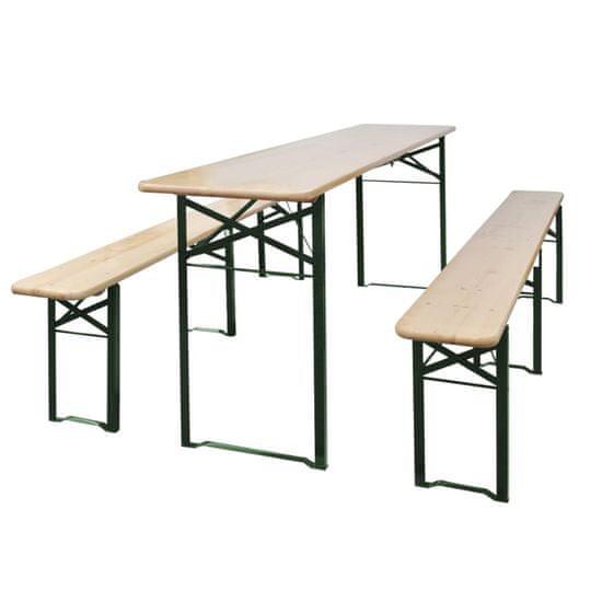 Skladací pivný stôl s 2 lavicami 220 cm, jedľové drevo