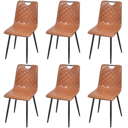 slomart Jedilni stoli 6 kosov svetlo rjavo umetno usnje