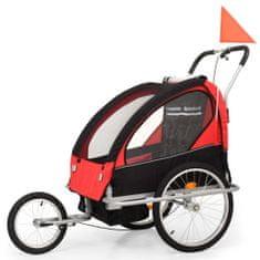 Dětský vozík za kolo a kočárek pro běžce 2v1, červeno-černý